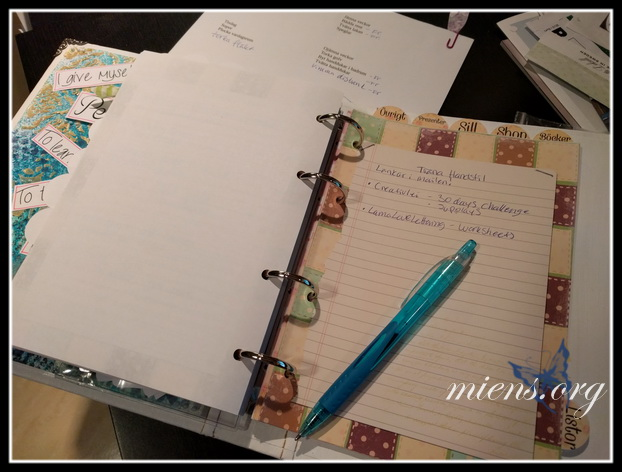 New pages to my binder: Notes, read books and Settings for